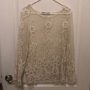 Tops - Dollfins medium Cream net/lace/crochet top